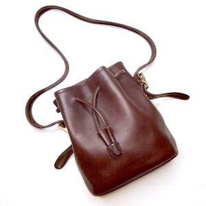 Vintage Coach chocolate brown leather bucket bag